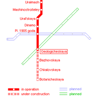 Схема екатеринбургского метрополитена