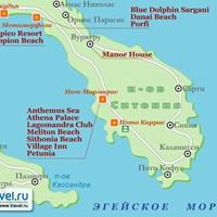 Карта полуострова Ситония