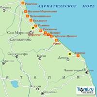 Карта курортов Адриатической Ривьеры