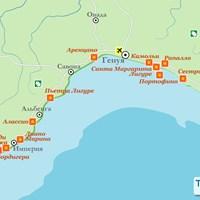 Карта курортов Лигурии