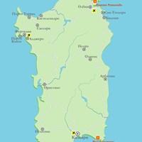 Карта острова Сардиния