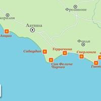 Карта курортов Ривьера-ди-Улиссе