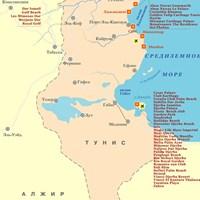 Карта курортов Туниса