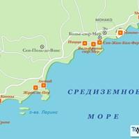 Карта курортов Лазурного берега