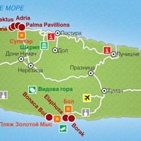 Карта курортов острова Брач