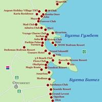 Карта курорта Бодрум (бухты Гумбет и Битез)