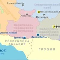 Карта горнолыжных курортов Кавказа