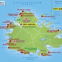 Карта острова Антигуа