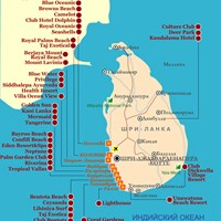 Карта курортов Шри-Ланки