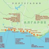 Карта курортов Алгарве