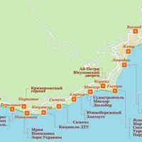 Карта курортов Ялты