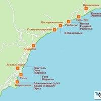 Карта курортов Алушты