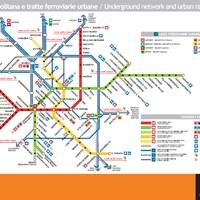 Схема линий метро и пригородных поездов в Милане